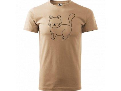 Ručně malované triko pískové s černým motivem - Kočka
