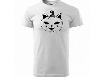 Ručně malované triko bílé s černým motivem - Halloween kočka - Dýně