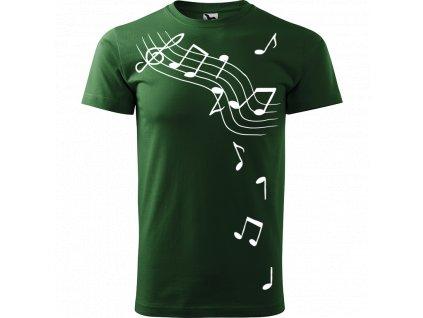 Ručně malované triko trávově zelené s bílým motivem - Noty