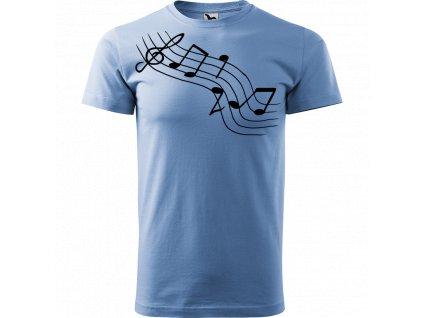 Ručně malované triko nebesky modré s černým motivem - Noty šikmě