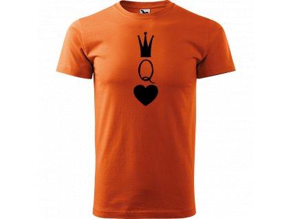 Ručně malované triko oranžové s černým motivem - Queen