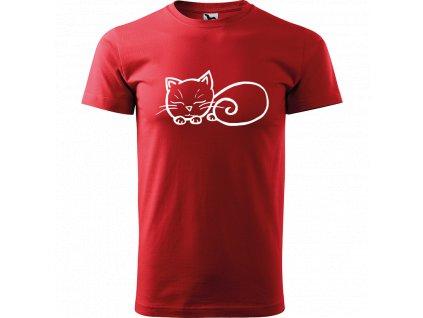 Ručně malované triko červené s bílým motivem - Spící kotě