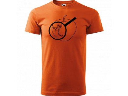 Ručně malované triko oranžové s černým motivem - Červ na jablku