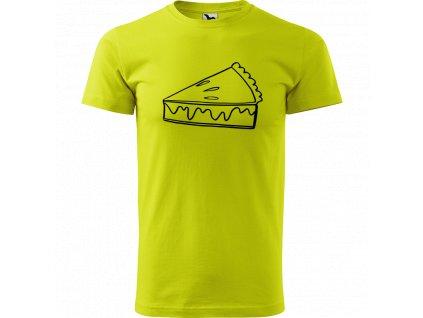 Ručně malované triko limetkové s černým motivem - Pie