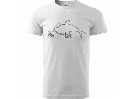 Ručně malované triko bílé s černým motivem - Spící žralok