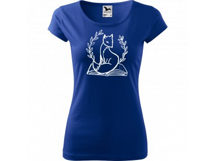 Ručně malované triko modré s bílým motivem - Liška na knize