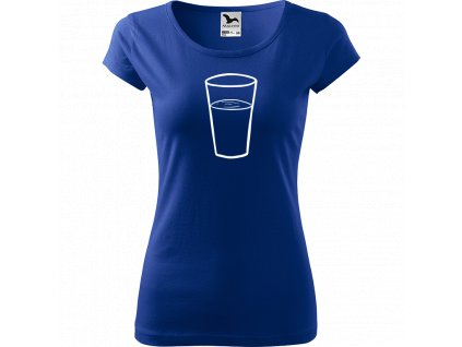 Ručně malované triko modré s bílým motivem - Sklenička s vodou