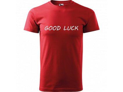 Ručně malované triko černé s bílým motivem - Good Luck
