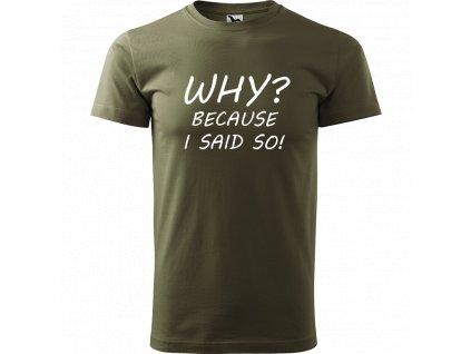 Ručně malované triko army s bílým motivem - Why? Because I Said So!