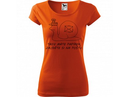 Ručně malované triko oranžové s černým motivem - Poštovní šnek - Tady máte papírek. Zajděte si na poštu.