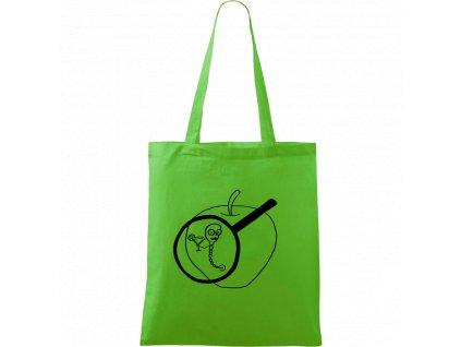 Plátěná taška Handy zelená s černým motivem - Červ na jablku