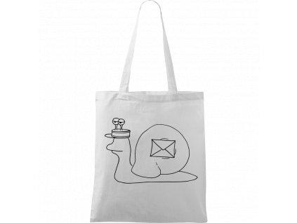 Plátěná taška Handy bílá s černým motivem - Poštovní šnek