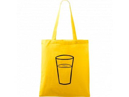 Plátěná taška Handy žlutá s černým motivem - Sklenička s vodou