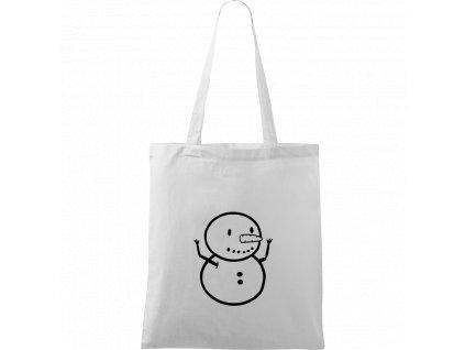 Plátěná taška Handy bílá s černým motivem - Sněhuláče