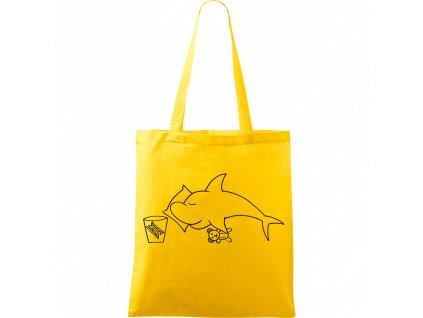 Plátěná taška Handy žlutá s černým motivem - Spící žralok