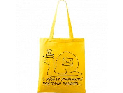 Plátěná taška Handy žlutá s černým motivem - Poštovní šnek - 3 měsíce? Standardní poštovní průměr...