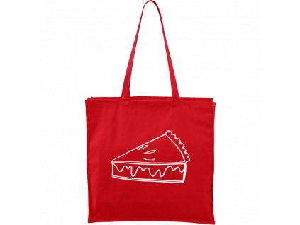 Plátěná taška Carry červená s bílým motivem - Pie