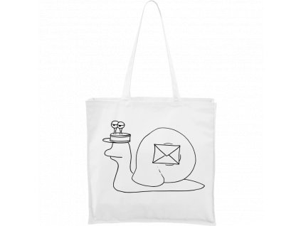 Plátěná taška Carry bílá s černým motivem - Poštovní šnek