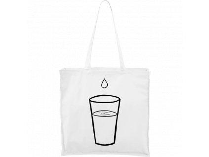 Plátěná taška Carry bílá s černým motivem - Sklenička s kapkou