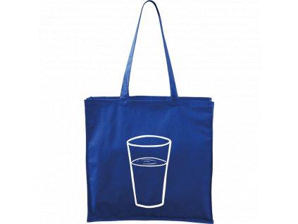 Plátěná taška Carry modrá s bílým motivem - Sklenička s vodou