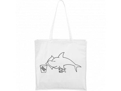 Plátěná taška Carry bílá s černým motivem - Spící žralok