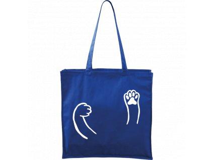 Plátěná taška Carry modrá s bílým motivem - Kočičí packy