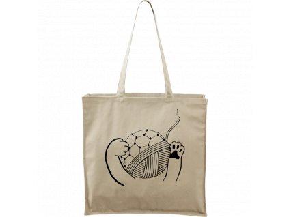 Plátěná taška Carry přírodní s černým motivem - Kočičí packy s Fullerenem