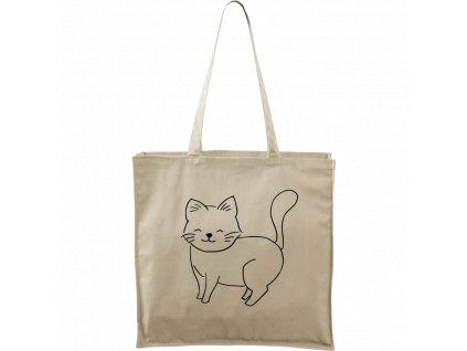 Plátěná taška Carry přírodní s černým motivem - Kočka