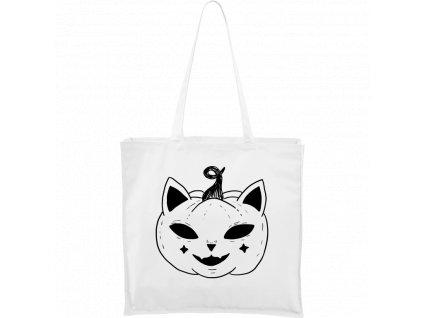 Plátěná taška Carry bílá s černým motivem - Halloween kočka - Dýně