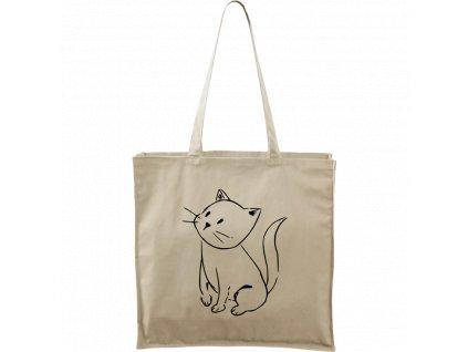 Plátěná taška Carry přírodní s černým motivem - Kotě