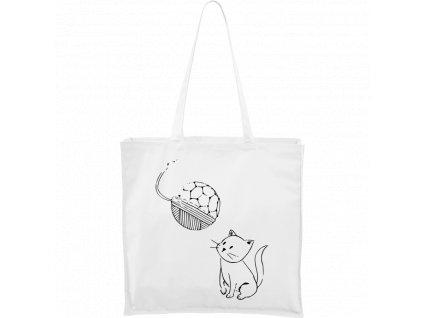 Plátěná taška Carry bílá s černým motivem - Kotě s Fullerenem