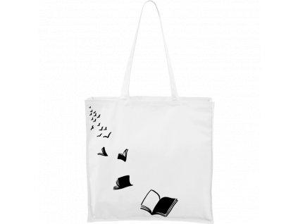 Plátěná taška Carry bílá s černým motivem - Knihy létající - 2