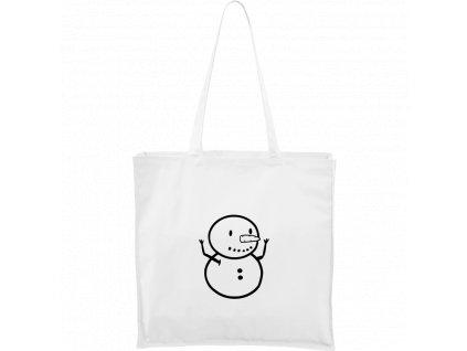 Plátěná taška Carry bílá s černým motivem - Sněhuláče