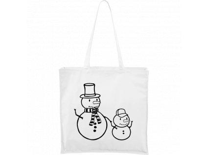 Plátěná taška Carry bílá s černým motivem - Sněhulák a sněhokluk