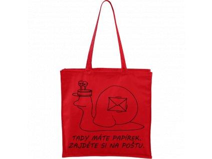 Plátěná taška Carry červená s černým motivem - Poštovní šnek - Tady máte papírek. Zajděte si na poštu.
