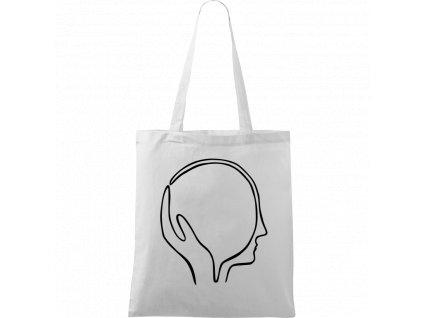 Plátěná taška Handy bílá s černým motivem - Dlaň s hlavou