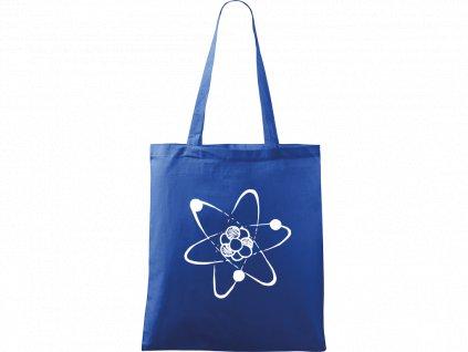 Plátěná taška Handy modrá s bílým motivem - Atom