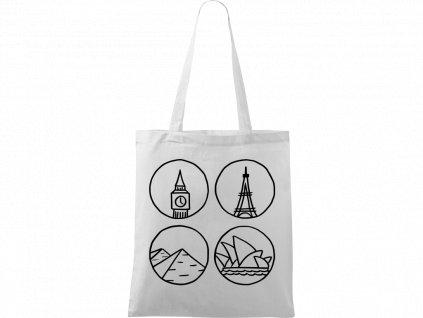 Plátěná taška Handy bílá s černým motivem - Big Ben, Eiffelovka, Pyramidy a opera v Sydney