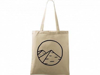 Plátěná taška Handy přírodní s černým motivem - Pyramidy