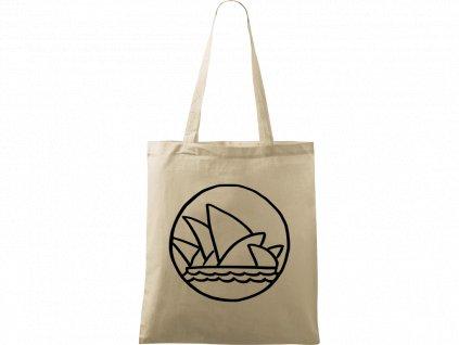 Plátěná taška Handy přírodní s černým motivem - Opera v Sydney
