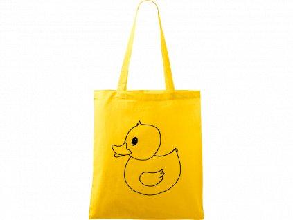 Plátěná taška Handy žlutá s černým motivem - Kachna