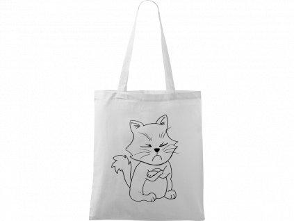 Plátěná taška Handy bílá s černým motivem - Grumpy Kitty