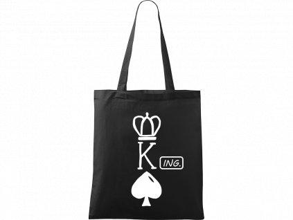 Plátěná taška Handy černá s bílým motivem - King - Ing.