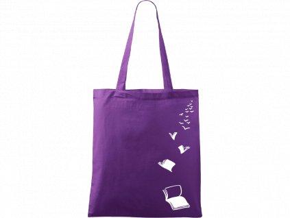Plátěná taška Handy fialová s bílým motivem - Knihy létající