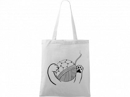 Plátěná taška Handy bílá s černým motivem - Kočičí packy s Fullerenem