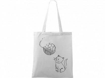 Plátěná taška Handy bílá s černým motivem - Kotě s Fullerenem