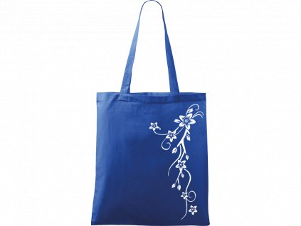 Plátěná taška Handy modrá s bílým motivem - Květy