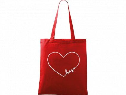 """Plátěná taška Handy červená s bílým motivem - """"Love You"""" srdce"""