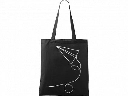 Plátěná taška Handy černá s bílým motivem - Šipka