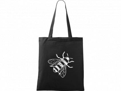 Plátěná taška Handy černá s bílým motivem - Včela